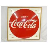 45IN EMB. COCA COLA BUTTON SELF FRAMED SIGN