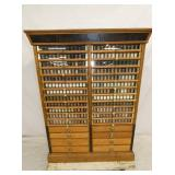33X44 ORIG. BRAINED & ARMSTRONG OAK SPOOL CABINET