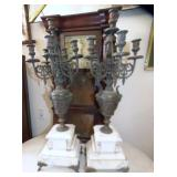 PAIR MARBLE BASE CANDLE OBRAS