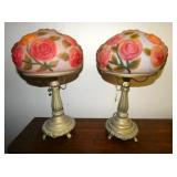 MATHCING PAIR OF VICTORIAN PUFFY LAMPS