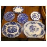 FLOW BLUE CHINA PLATTERS/PLATES