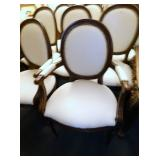 8 MATCHING WALNUT LEATHER WRAPPED CHAIRS