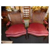 2 EARLY MATCHING CANE BACK PARLOR ARMCHAIRS