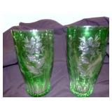 11IN. MATCHING BOHEMIAN CUT TO CLEAR VASES