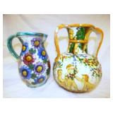 10 & 11IN. HAND DECORATED ITALIAN PITCHERS