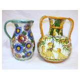 VIEW 2 ITALIAN HAND DECORATED PITCHERS