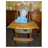 EARLY HIGHCHAIR W/COMPOSITION DOLL
