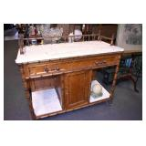 40IN. MARBLE TOP BAMBOO SERVER
