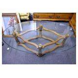 32X60 MID CENTURY IRON BASE GLASS TOP TABLE