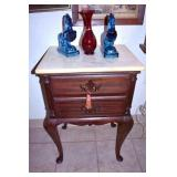 QUEEN ANNE MARBLE TOP BEDSIDE TABLE
