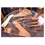 VARIOUS EARLY WOODEN PRIM. TOOLS