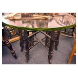 TEEK WOOD CARVED GLASS TOP TABLE