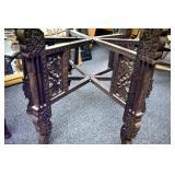 VIEW 2 CLOSEUP TEEK TABLE W/ CARVED LEGS