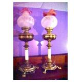 ORNATE PAIR VICT. PARLOR LAMPS