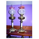 VIEW 3 PAIR VICTORIAN PARLOR LAMPS