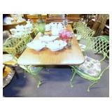 VIEW 2 TABLE SET W/ 6 IRON CHAIRS