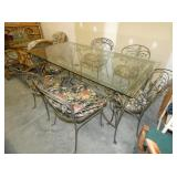 7PC. IRON TABLE SET W/ 6 CHAIRS