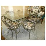 VIEW 2 WROUGHT IRON TABLE W/ GLASS TOP