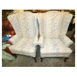 PAIR WING BACK PARLOR CHAIRS