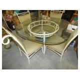 5PC. WROUGHT IRON GLASS TOP TABLE SET
