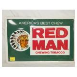 12X18 EMB. RED MAN CHEWING TOBACCO SIGN