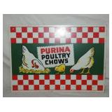10X14 PURINA POULTRY CHOWS SIGN W/ CHICKENS