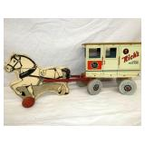 VIEW 2 OTHERSIDE WOODEN HORSE W/ TIN CART