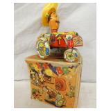 6IN CRAZY COWBOY WINDUP WHOOPEE CAR