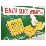 VIEW 2 CLOSEUP SLICED CHEESE CLEARFIELD SIGN
