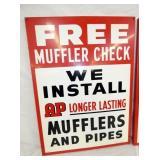 VIEW 2 CLOSEUP 1959 MUFFLER SIGN W/ BRACKETS