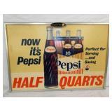 27X38 PEPSI HALF QUARTS CARDBOARD W/ORIG. FRAME