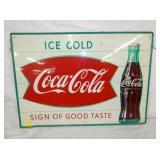20X28 COCA COLA FISHTAIL SIGN W/ BOTTLE