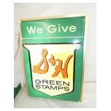 14X19 EMB. LIGHTED S&H GREEN STAMPS SIGN