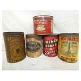 VARIOUS MISC. COFFEE TINS