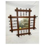 25IN STICK & BALL HALL MIRROR W/ HOOKS