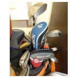 VARIOUS GOLF CLUBS AND DRIVERS