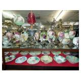 GROUP PICTURE FINE CHINA, PARLOR LAMPS AND MORE!