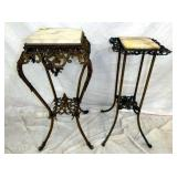 MARBLE TOP IRON FERN STANDS