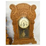 VIEW 3 PRESSED CARVED OAK KITCHEN CLOCK