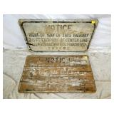 20X36 WOODEN S.H.&P HIGHWAY SIGNS
