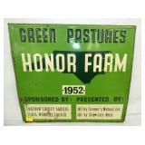 20X18 EMB. 1952 NC HONOR FARM SIGN