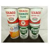 1QT. TEXACO, GULF, QUAKER STATE CANS