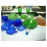 PINK, GREEN, BLUE DEPRESSION GLASS