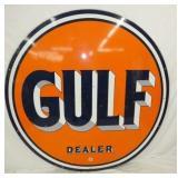 5 1/2 FT. 1951 PORC. GULF DEALER SIGN