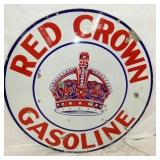 42IN. PORC. RED CROWN GASOLINE SIGN