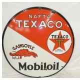 RARE 36IN. PORC. TEXACO MOBILOIL NAFTA SIGN