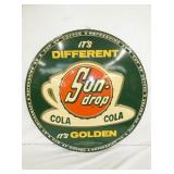 RARE 30IN. EMB. SUNDROP COLA SIGN