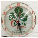 15IN. DOUBLE BUBBLE CLOVER DAIRY CLOCK