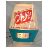 UNUSUAL 8X10 LIGHTED SHCLITZ CLOCK COUNTER SIGN