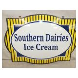 21X15 1930 PORC. SOUTHERN DAIRIES ICE CREAM SIGN